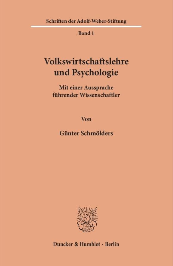Cover Volkswirtschaftslehre und Psychologie