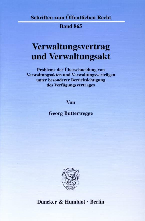 Cover Verwaltungsvertrag und Verwaltungsakt