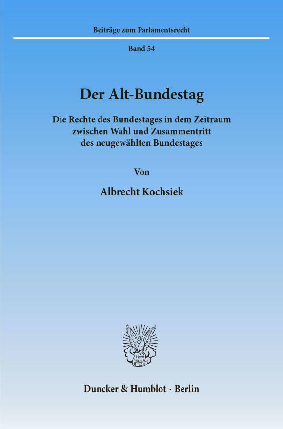 Cover Der Alt-Bundestag