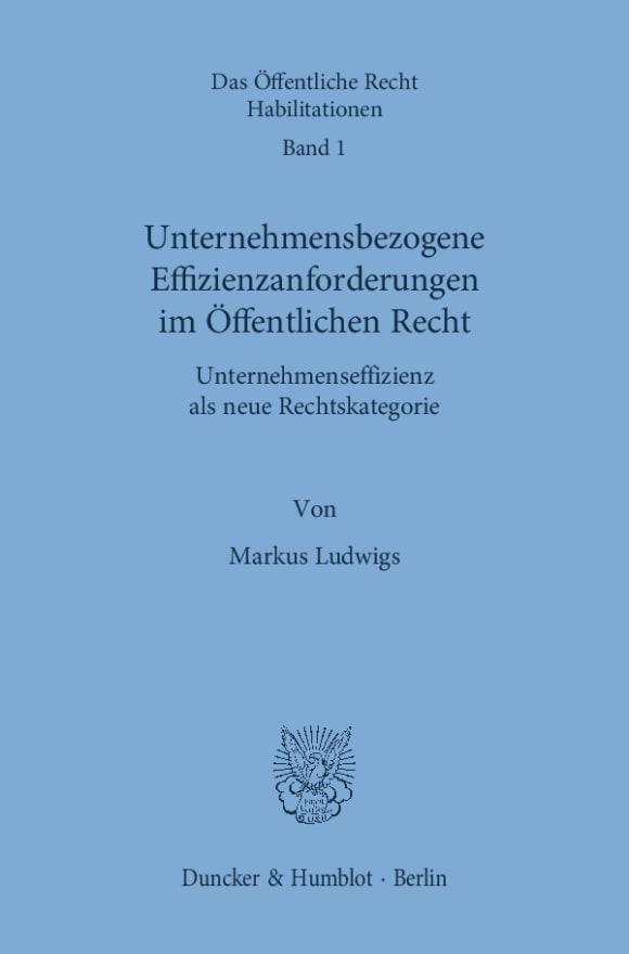 Cover Unternehmensbezogene Effizienzanforderungen im Öffentlichen Recht