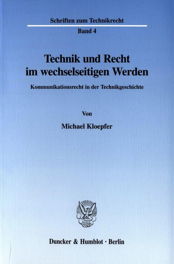 Cover Technik und Recht im wechselseitigen Werden