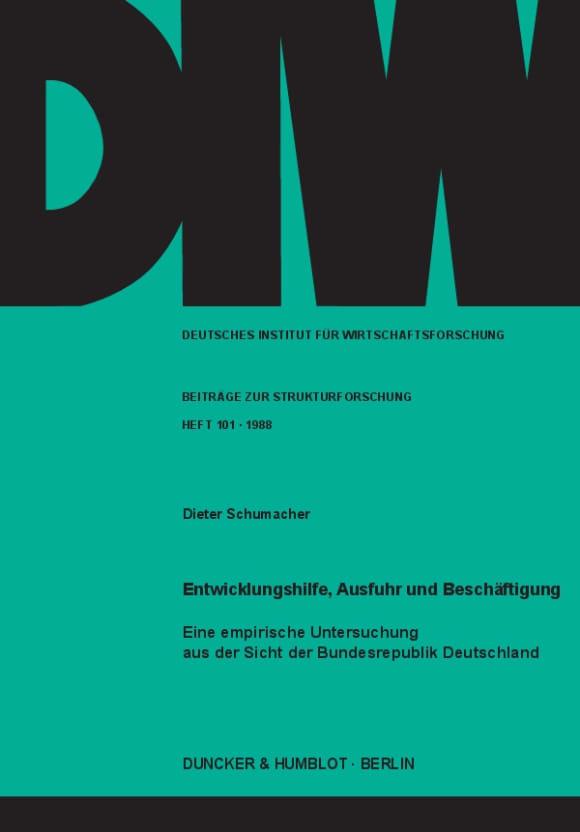 Cover Entwicklungshilfe, Ausfuhr und Beschäftigung