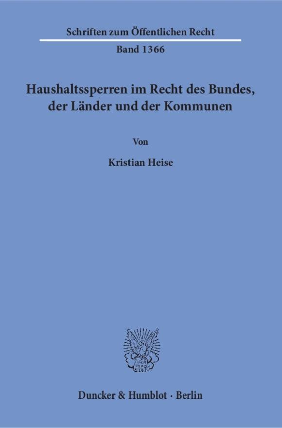 Cover Haushaltssperren im Recht des Bundes, der Länder und der Kommunen