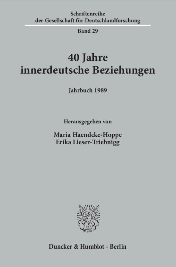 Cover 40 Jahre innerdeutsche Beziehungen