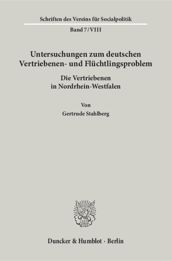 Cover Untersuchungen zum deutschen Vertriebenen- und Flüchtlingsproblem