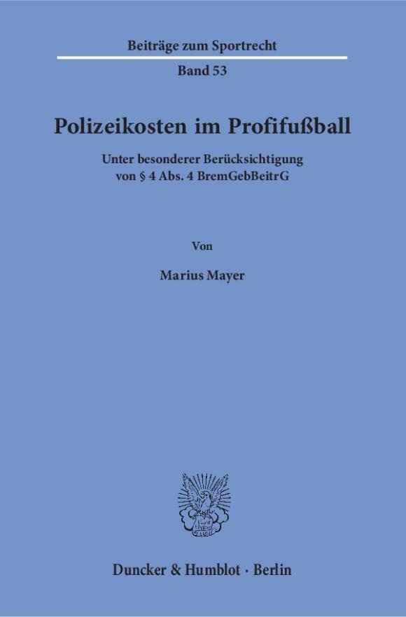 Cover Polizeikosten im Profifußball