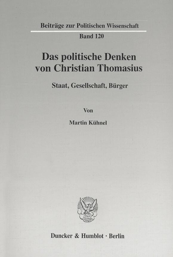Cover Das politische Denken von Christian Thomasius