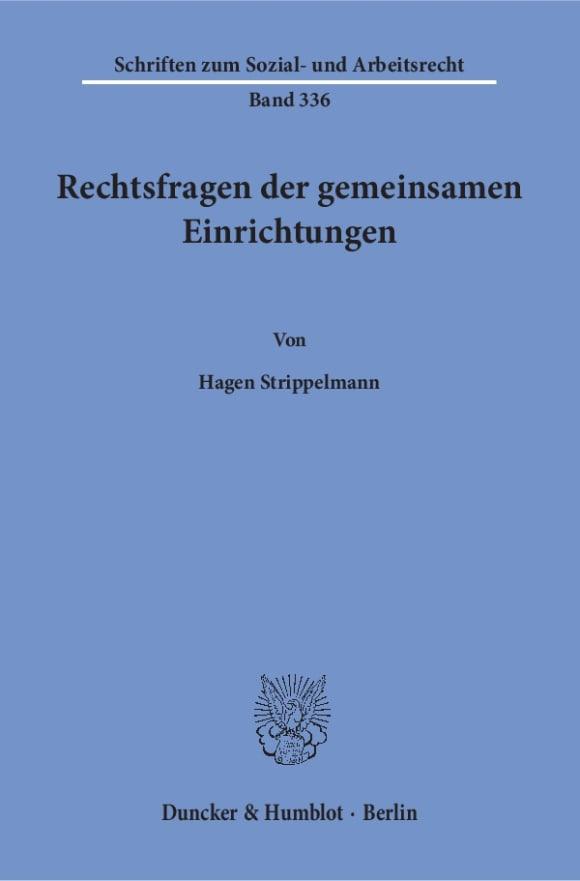 Cover Rechtsfragen der gemeinsamen Einrichtungen
