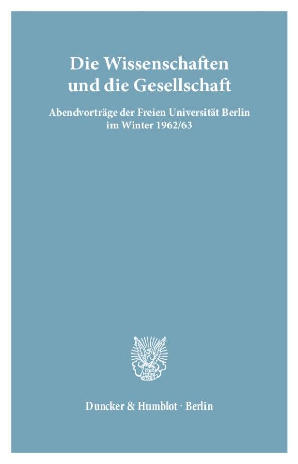 Cover Die Wissenschaften und die Gesellschaft