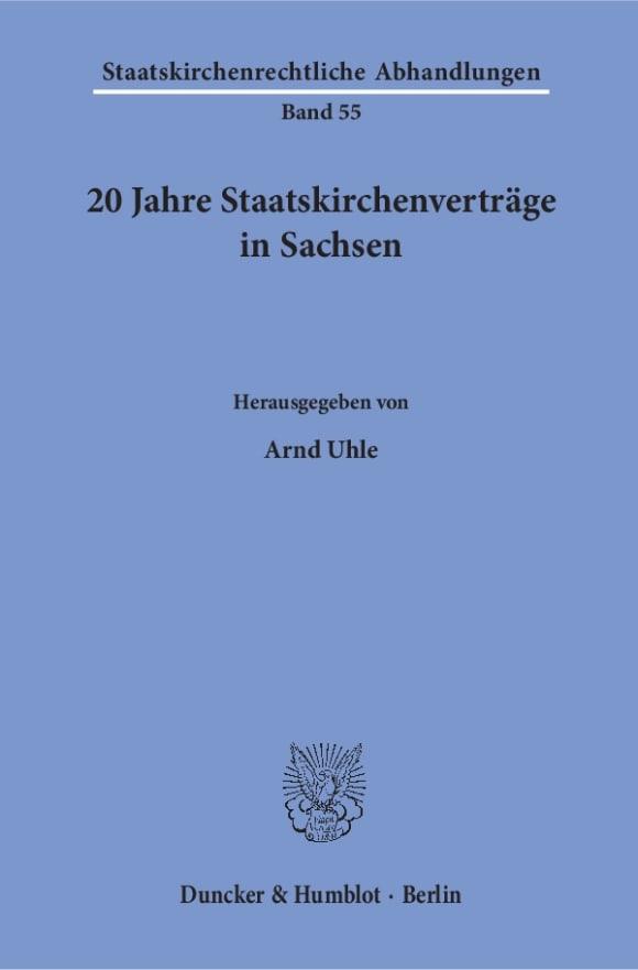 Cover 20 Jahre Staatskirchenverträge in Sachsen