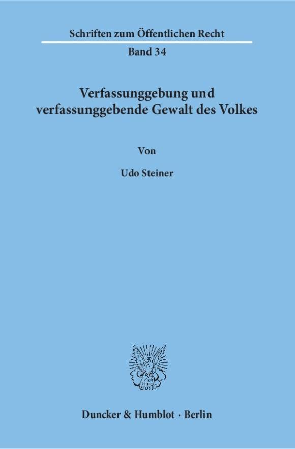 Cover Verfassunggebung und verfassunggebende Gewalt des Volkes