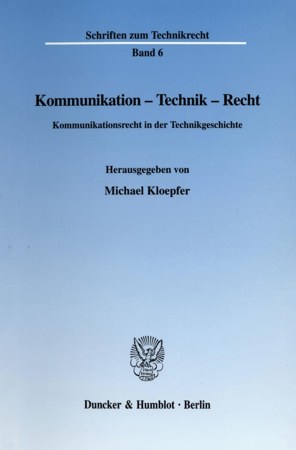 Cover Kommunikation - Technik - Recht