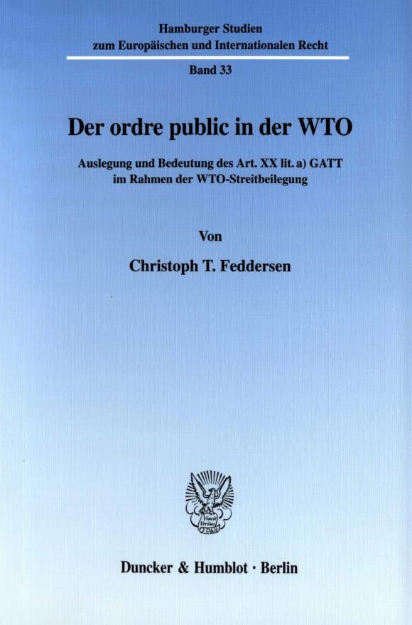 Cover Der ordre public in der WTO