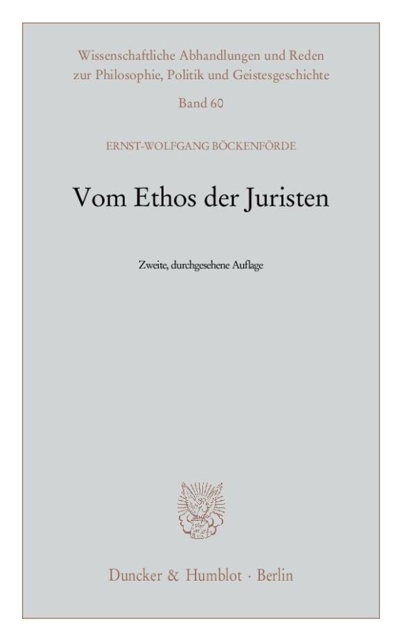 Cover Vom Ethos der Juristen