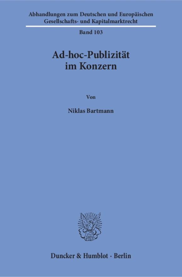 Cover Ad-hoc-Publizität im Konzern