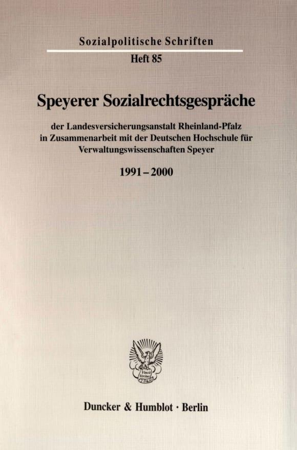 Cover Speyerer Sozialrechtsgespräche