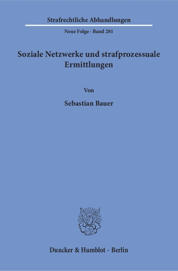 Cover Soziale Netzwerke und strafprozessuale Ermittlungen