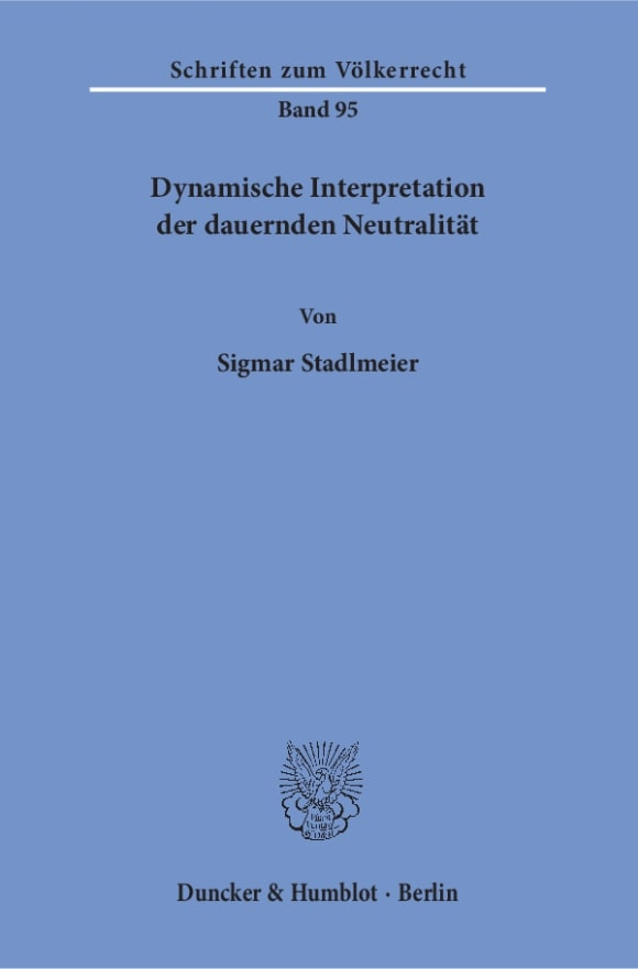 Cover Dynamische Interpretation der dauernden Neutralität