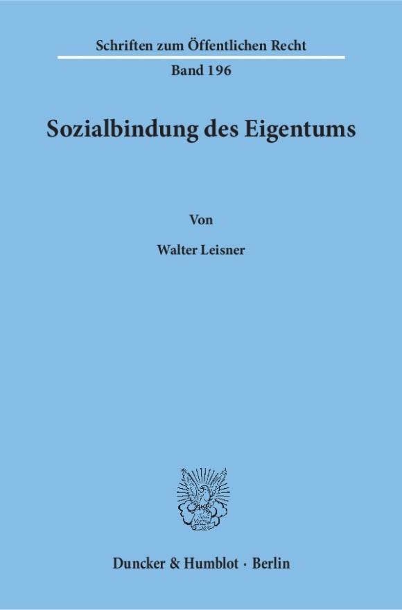 Cover Sozialbindung des Eigentums