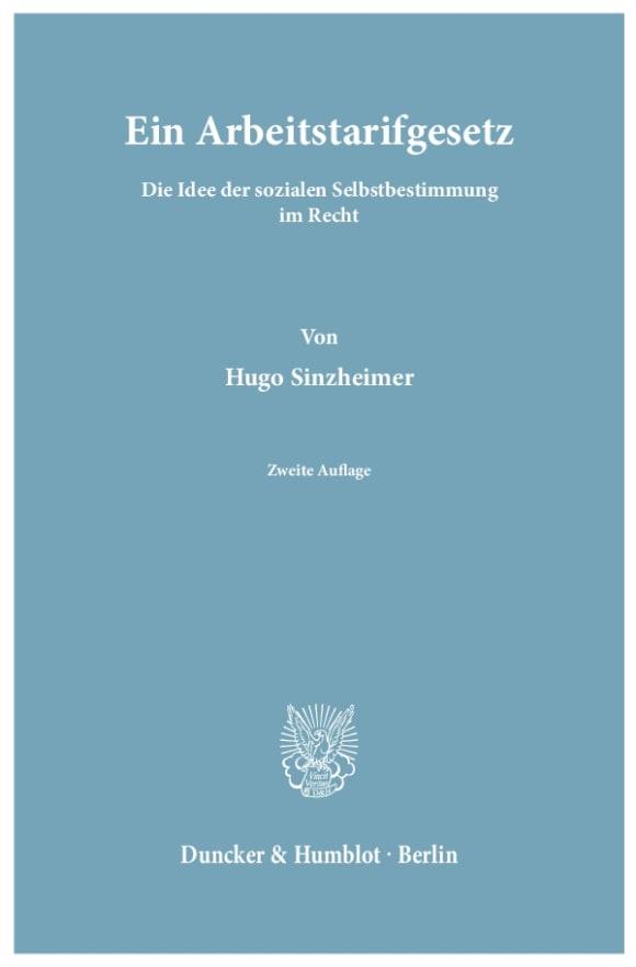 Cover Ein Arbeitstarifgesetz