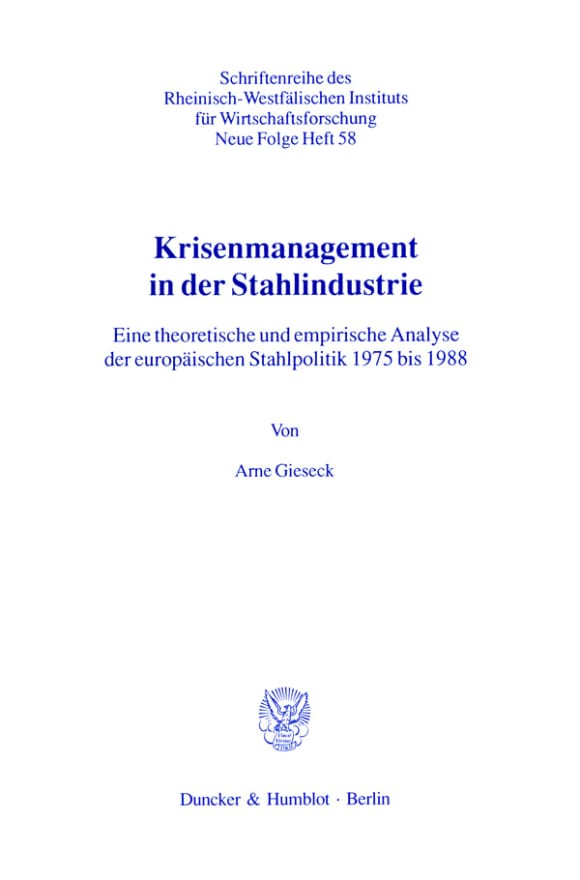 Cover Krisenmanagement in der Stahlindustrie