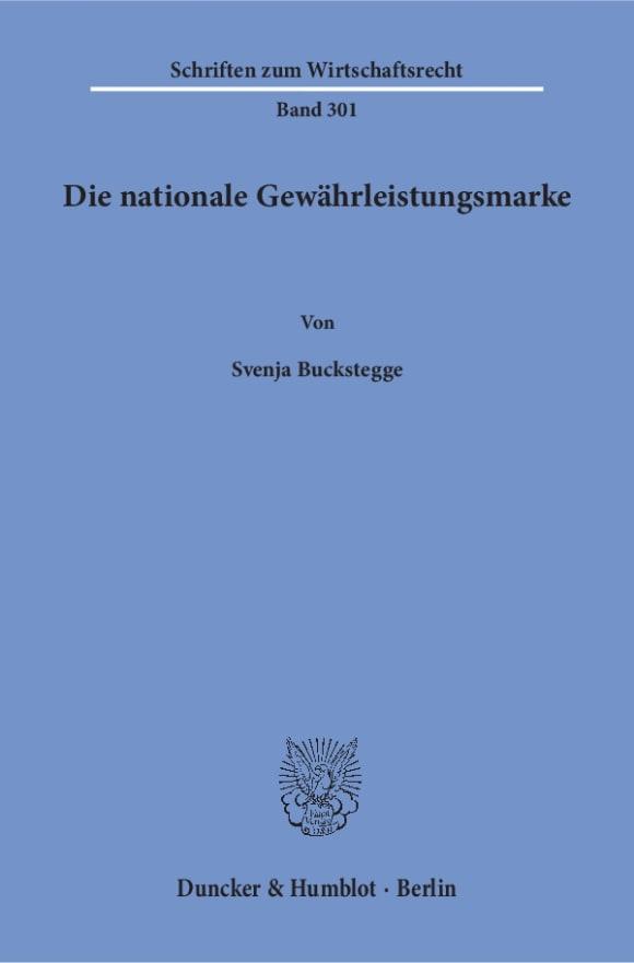 Cover Die nationale Gewährleistungsmarke