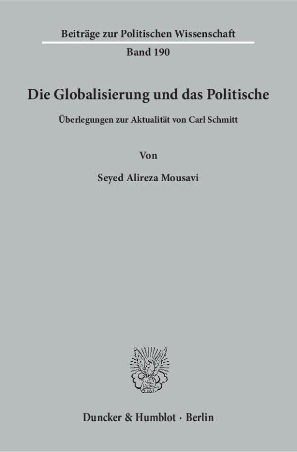 Cover Die Globalisierung und das Politische