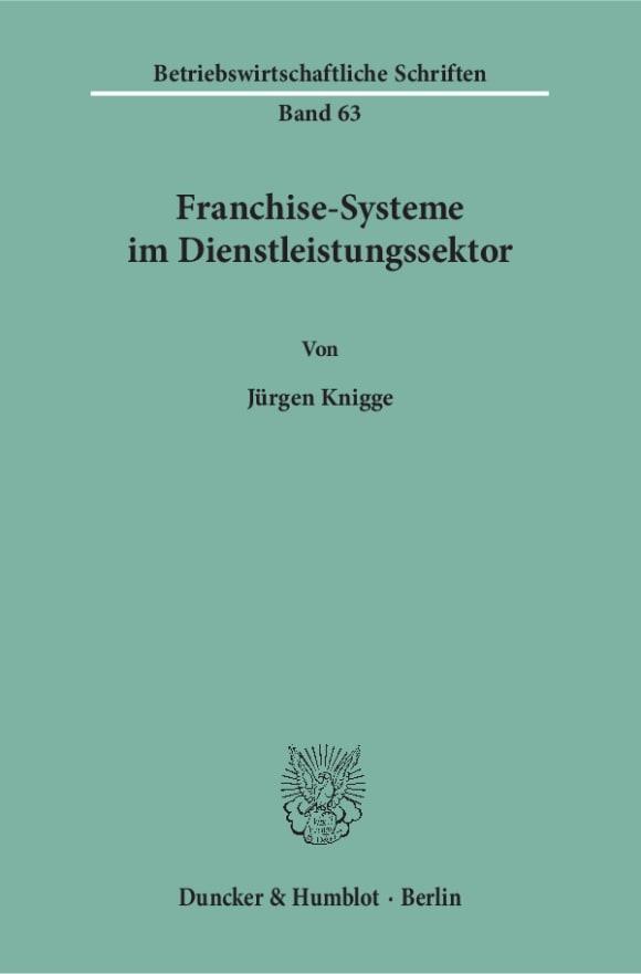 Cover Franchise-Systeme im Dienstleistungssektor