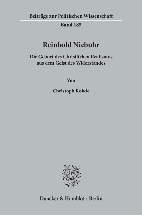 Cover Reinhold Niebuhr