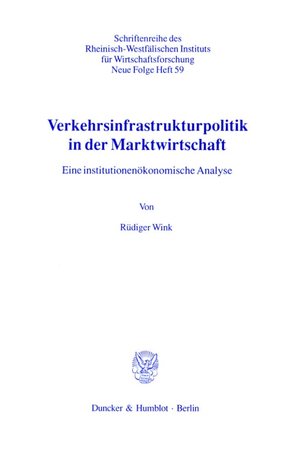Cover Verkehrsinfrastrukturpolitik in der Marktwirtschaft