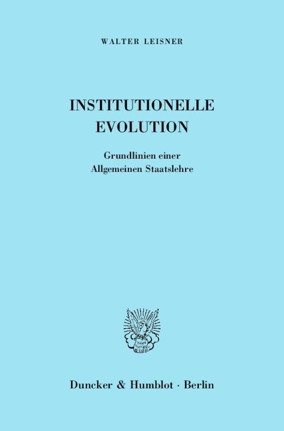 Cover Institutionelle Evolution