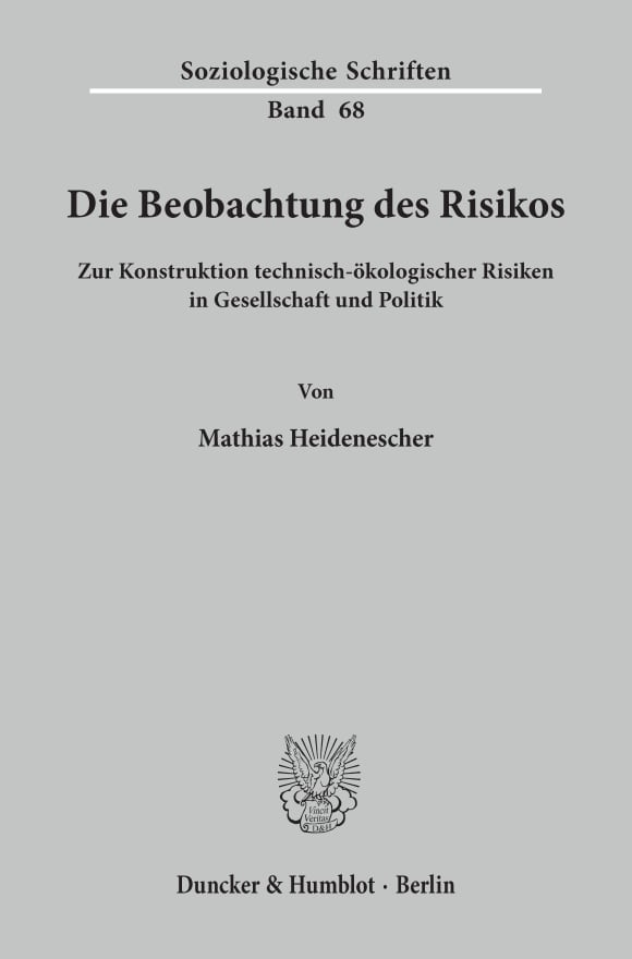 Cover Die Beobachtung des Risikos