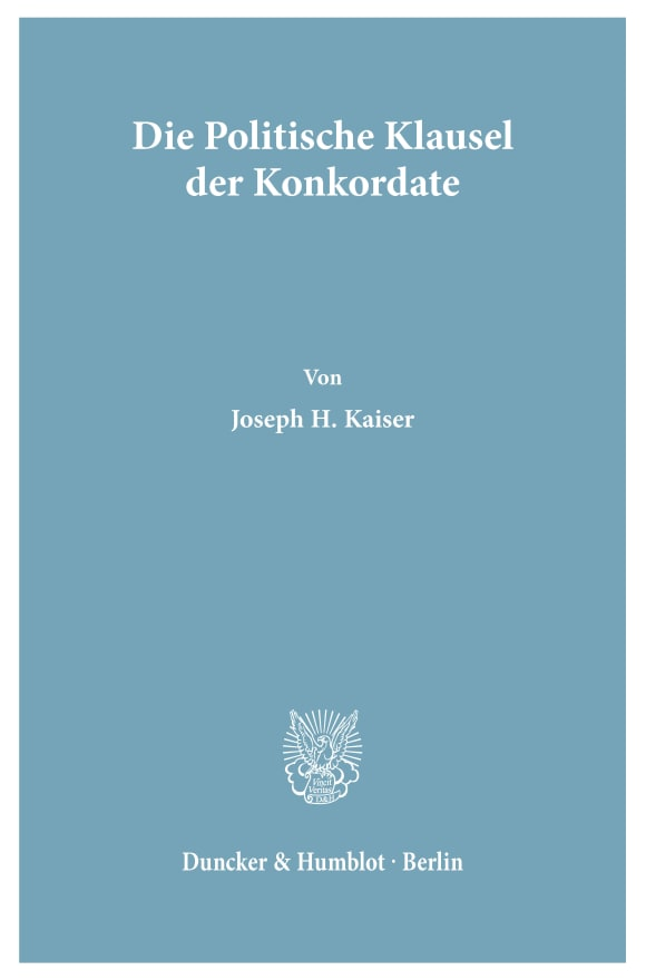 Cover Die Politische Klausel der Konkordate
