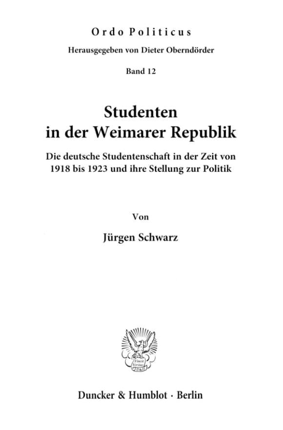 Cover Studenten in der Weimarer Republik