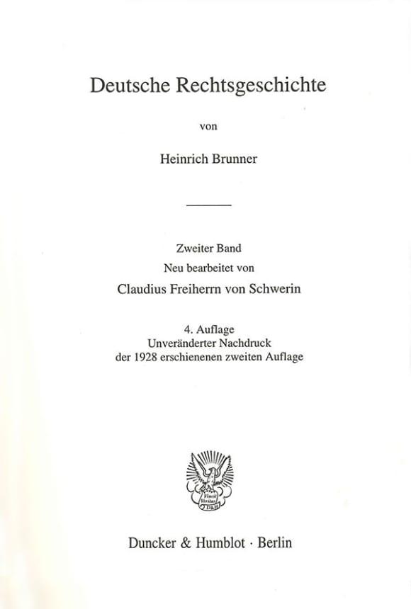 Cover Deutsche Rechtsgeschichte. 2. Band