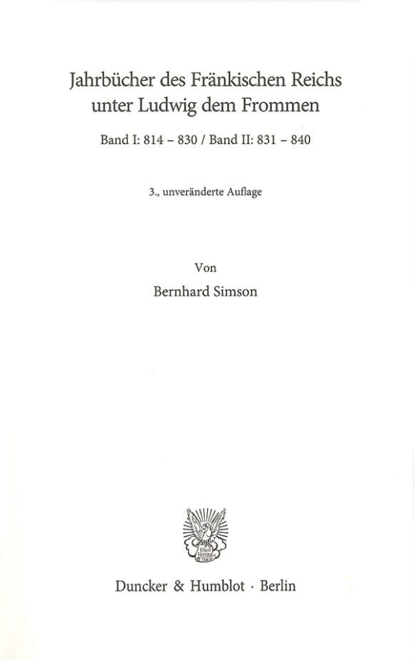Cover Jahrbücher des Fränkischen Reichs unter Ludwig dem Frommen. Band I und II