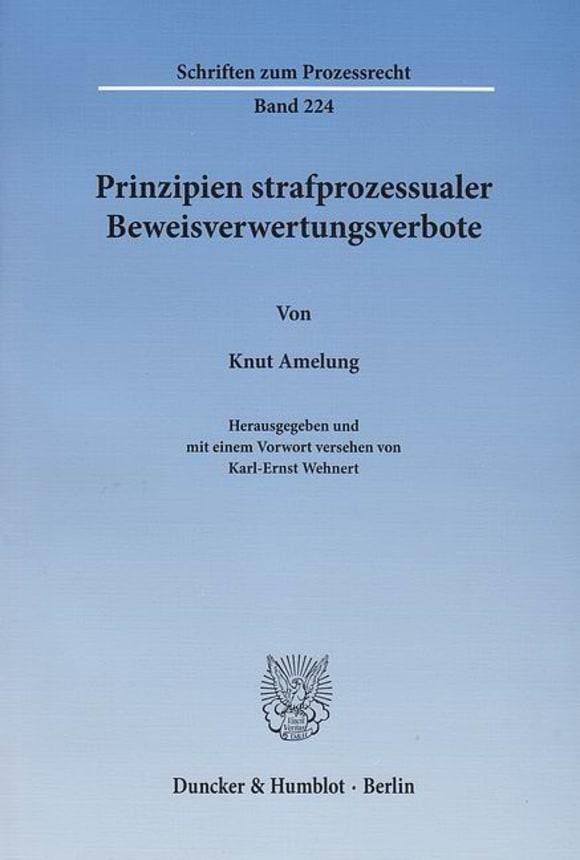 Cover Prinzipien strafprozessualer Beweisverwertungsverbote