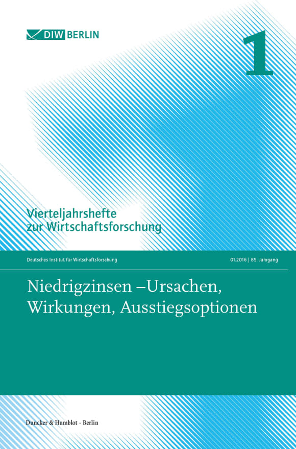 Cover Niedrigzinsen – Ursachen, Wirkungen, Ausstiegsoptionen (VJH 1/2016)