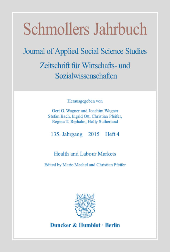 Cover Health and Labour Markets (JCE 4/2015)