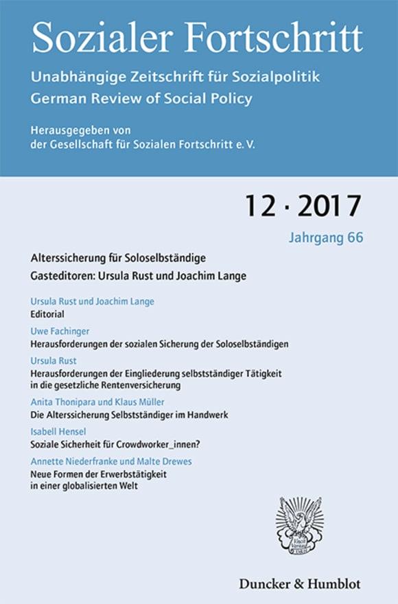 Cover Alterssicherung für Soloselbständige (SF 12/2017)