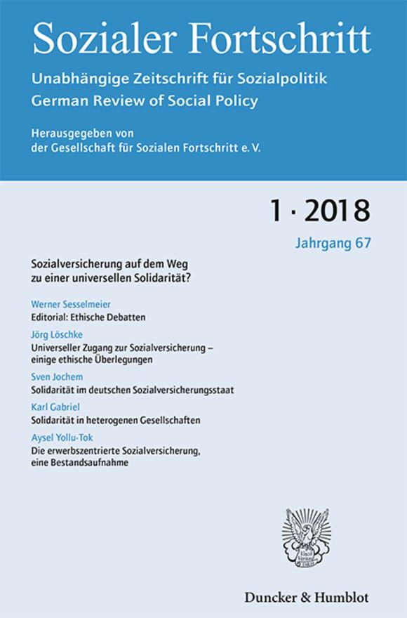 Cover Sozialversicherung auf dem Weg zu einer universellen Solidarität? (SF 1/2018)