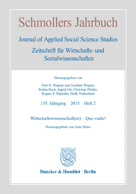 Cover Wirtschaftswissenschaft(en) – Quo vadis? (JCE 2/2015)