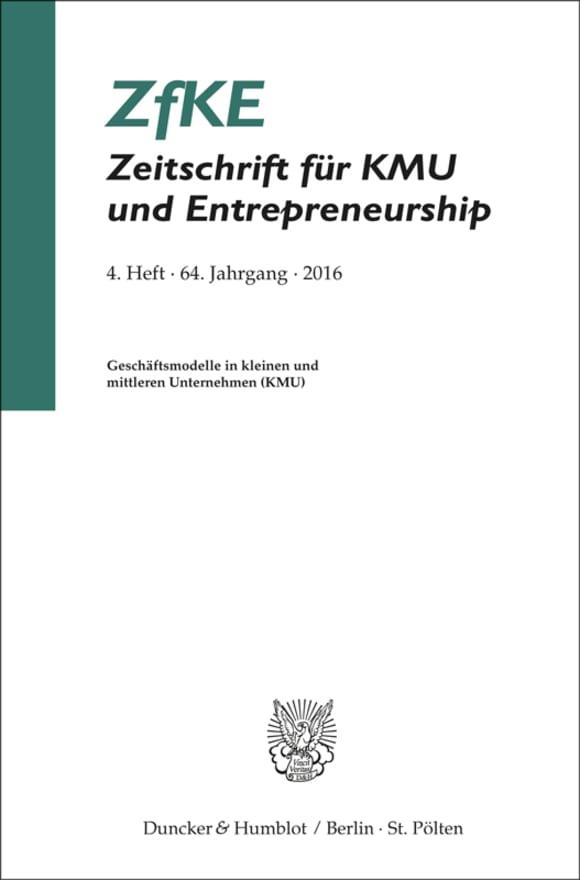 Cover Geschäftsmodelle in kleinen und mittleren Unternehmen (KMU) (ZfKE 4/2016)