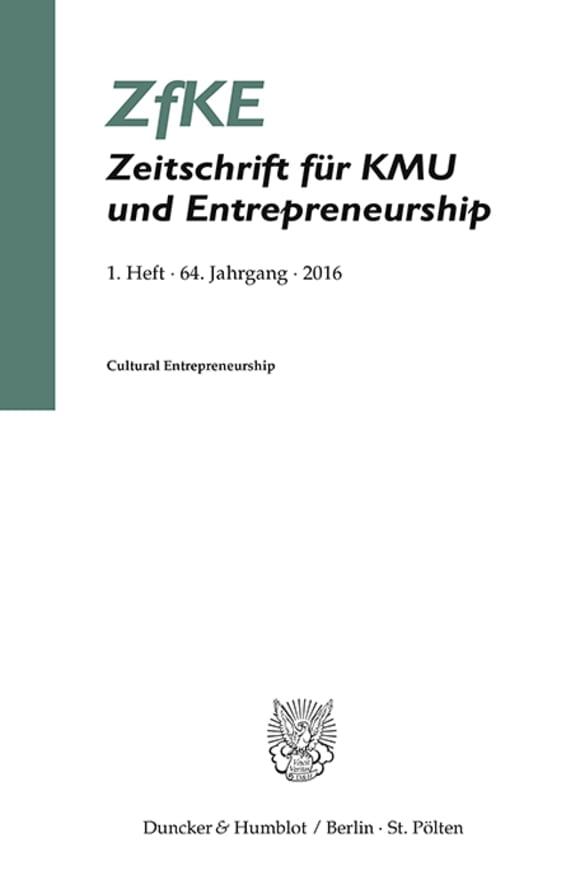 Cover Cultural Entrepreneurship (ZfKE 1/2016)