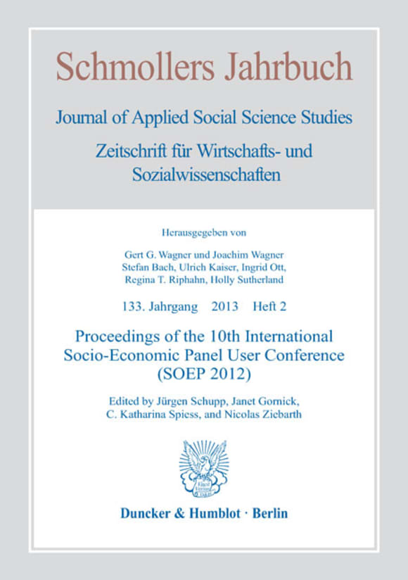 Cover Proceedings of the 10th International Socio-Economic Panel User Conference (SOEP 2012) (JCE 2/2013)