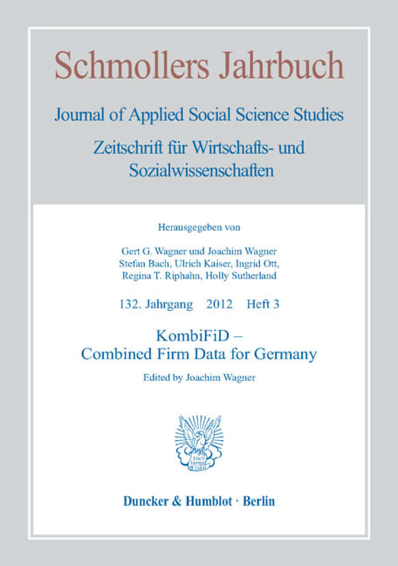 Cover KombiFiD – Combined Firm Data for Germany (JCE 3/2012)