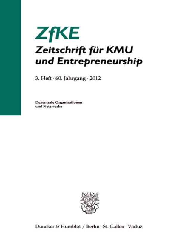 Cover Dezentrale Organisation und Netzwerke (ZfKE 3/2012)