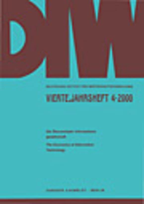 Cover Die Ökonomie der Informationsgesellschaft / The Economics of Information Technology (VJH 4/2000)