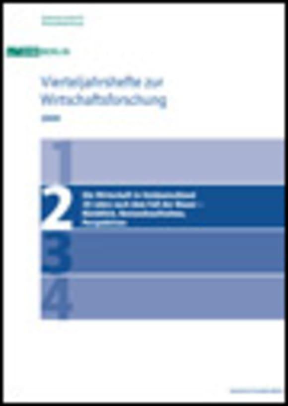 Cover Die Wirtschaft in Ostdeutschland 20 Jahre nach dem Fall der Mauer – Rückblick, Bestandsaufnahme, Perspektiven (VJH 2/2009)