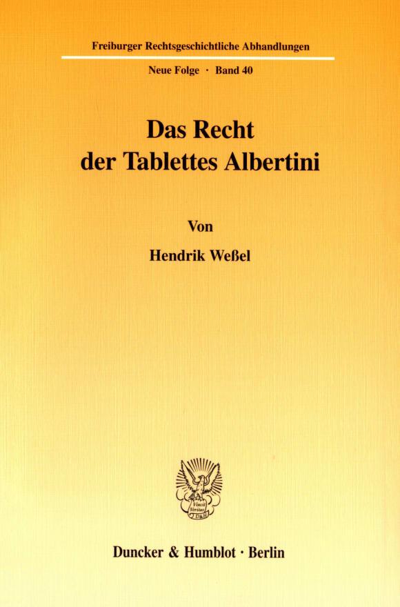 Cover Das Recht der Tablettes Albertini